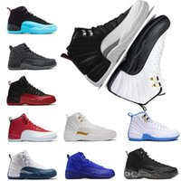 Wholesale Metal Buckled Sneakers - 2018 Hot New High Quality Original Men's Retro Basketball shoes 12s ovo playoffs the Master Black leather stitching metal buckles Sneakers