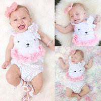 Wholesale baby bow bear resale online - New Baby Fluffy Bear Romper Infant Newborn Girls Jumpsuits with Bow Cotton Bear Ears Vest Sleeveless M