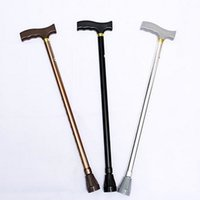 Wholesale Telescopic Light Stick - Aluminums Alloy Non Slip Crutch For Elderly Telescopic High Adjustable Mountaineering Crutches Super Light Gentleman's Walking Stick 15hc X