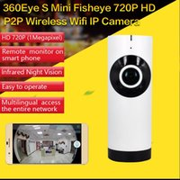 Wholesale micro camera sd motion resale online - 185 Degree Fish Eyes Lens APP Remote Control Wireless full vision wifi IP Camera Motion detection support micro SD card recording network ip