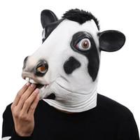 fantezi elbiseler maskeleri toptan satış-Cadılar bayramı Tam Yüz Tepegöz Komik Cosplay Masquerade Fantezi İnek Maskesi Parti Maskesi için Lateks Karnaval Giyinmek