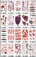 makyaj izleri toptan satış-Scars Dövmeler Dekor Sticker Cadılar Bayramı Serisi Çıkartmalar Sahte Scab Makyaj Parti Korku opp paketi ile Yara Korkunç Su Geçirmez Paster