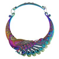 whole saleKMVEXO Ethnic Collar Choker Necklace Charming Multicolor Laser Jewelry Chinese Peacock Dragon Maxi Necklaces Statement Necklace