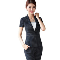Wholesale ladies uniform pants - Work wear set women fashion stripe pant suits New summer formal short sleeve blazer trousers office ladies plus size uniform