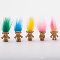 ingrosso neonata diy-2018 Capelli colorati Troll Doll Family Members Papà Mummia Baby Boy Girl Leprocauns Dam Trolls Toy Gifts Happy Love Family