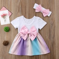 Wholesale chinese outfits - Summer baby girl rainbow dress bowknot TuTu dresses with headband 2pcs set outfit princess dress costumes baby girls clothes kid clothing