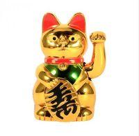 águila de latón antiguo al por mayor-Oro Feng Shui Lucky Cats Afortunado haciendo señas Waving Wealth Cat 5 pulgadas Accesorios de decoración para el hogar