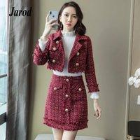 falda larga de cuadros rojos al por mayor-Corea otoño invierno mujer conjunto de 2 piezas 2018 rojo Plaid Tweed girar el cuello de manga larga Blazers corto abrigo + borla Mini falda
