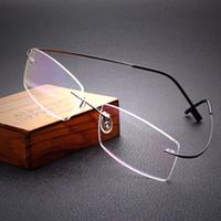 titan randlose rahmen rezept brillen großhandel-Freies Verschiffen 100% reines Titan randlose Marke Brillen Rahmen Männer Frauen optische Rahmen Brillengestell Auge Brille
