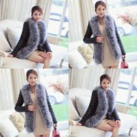 Wholesale Xxs Leather - Plus Size Women Black Lady Rabbit Fake Fur Coat Jacket Raccoon Fur Collar Winter warm Outerwear Casacos Femininos Abrigo Mujer