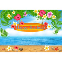 mavi çiçekli ağaç toptan satış-Plaj Doğum Günü Partisi Booth Zemin Özelleştirilmiş Mavi Gökyüzü Deniz Baskılı Çiçekler Yeşil Palmiye Ağacı Yapraklar Bebek Çocuk Fotoğraf Arka ...