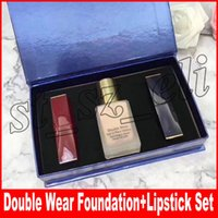 Wholesale signature lipstick for sale - Group buy Famous Makeup Set Double Wear Liquid Foundation Matte Lipstick with Signature in Cosmetic Kollection Kit