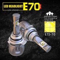 1 Set 9012 HIR2 ETI-70 LENS Chips E70 LED Headlight Car Front Headlamp Bulbs 120W 12000LM Turbo Fan Adjustable Focus Beam White 6000K Bright