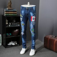 Wholesale fly patch - Spring and summer men's thin section of the hole patch pants pants Slim straight embroidery printing trousers SIZE:28--38