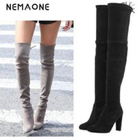 Wholesale over knee suede beige - NEMAONE Women Stretch Faux Suede Thigh High Boots Sexy Fashion Over the Knee Boots High Heels Woman Shoes Black Gray Winered