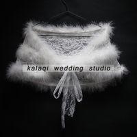 Wholesale Lace Wedding Gown Boleros - Cheap Faux Fur Wedding Wraps Shrug Bridal Gowns Warm Shawls Stole Cape 2017 Stock Bolero For Ladies Formal Wear Ribbon Tie Bow