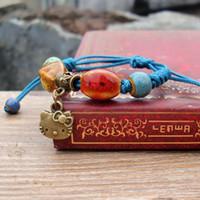 porzellan perlen blumen großhandel-Keramik Armband Retro Hochtemperatur Blume Glasur Porzellan Perle handgewebte Seil chinesischen ethnischen Stil Persönlichkeit Mode Geschenk Frauen