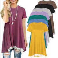 Wholesale kimono european style - European and American women hot style short - sleeve round collar stitching lace T - shirt.