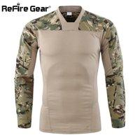 taktisches t-shirt großhandel-ReFire Gear Camouflage Armee Tactical t-shirt Männer Langarm Kampf T-Shirt Stretch Baumwolle Camo Paintball Shirt