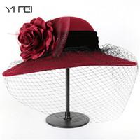 фетровые шляпы оптовых-Elegant Fashion classic chapeau veil Formal hat Women 100% Wool Felt Hats 1920s Vintage flower   Bucket hats
