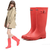 Wholesale Pvc Wellies - Newest Women Rain Boots Top Quality Rainboots Wellies Women High Boots Waterproof Brand Rubber Outdoor Water Shoes Free Shipping