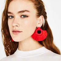 ingrosso grandi orecchini di cerchio rosso-Etnico vintage giallo lungo nappa orecchini di lusso maxi filo di seta etnico della boemia geometria rossa grandi orecchini per le donne regalo dei monili