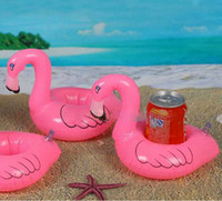Wholesale Pool Pieces - 12 Pieces - Flamingo Inflatable Drink Botlle Holder Lovely Pink Floating Bath Drink holder Flamingo Float swimming pool Supplies