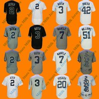 Wholesale Mantle Man - Men's New York Derek Jeter Babe Ruth Mickey Mantle Mariano Rivera Bernie Williams Jorge Posada Baseball Jersey White Gray 5 WS Patches