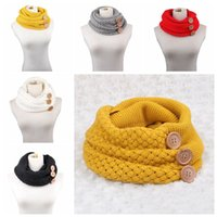 Wholesale infinity scarves online - 5 colors Winter Warm Knit Infinity Scarf Luxury Women Solid Color Crochet Pattern Basic Chunky Big Button Knit Snood Ring Scarf MMA458