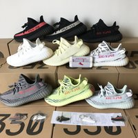Wholesale royal blue court shoes - 2018 Sply 350 V2 Sesame Butter Semi Frozen Yellow Blue Tint Beluga 2.0 Cream White Zebra Bred Kange West Running Shoes Sports