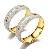 Discount pcs men ring gold - Crystal Dull Polish Stainless Steel Ring Gold Diamond Crystal Ring Couple Rings Band Ring for Men Women Wedding Rings Lovers Rings 60 pcs