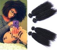 28 parça saç örgüsü toptan satış-Hint Bakire İnsan Sapıkça Kıvırcık Örgü 8-30 inç 100 gram / adet Bakire Saç Doğal Siyah 2 adet / grup Saç Uzantıları