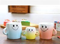 Wholesale Coffee Children - Ceramic Mug Parent-child Hand In Hand Cup Set Hand-painted Smiley Face Coffee Cup With Handgrip 2018 white Gradient Trendy Home Drinkware