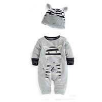 neugeborene jungen sleepwear groihandel-Langhülse Kuhbaby-Spielanzugkinder neugeborene Bodysuits graue feste Kinder Sleepwearbabyoveralls outfits Säuglingskleinkind neue Art