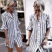 frauen halbe hemden großhandel-Womens Kleider Neue Ankunft 2018 Sommer Mode Lässig Gestreiftes Kleid Flare Halbarm Lose Knopfhemd Minikleid Vestidos