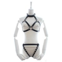 Wholesale leather sex clothes women resale online - Leather Sexy Lingerie Suits Halter Bra Thong Women Body Harnesses Bondage Clothing Fetish Dress Sex Underwear for Couples Game