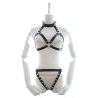 leder bh unterwäsche großhandel-Leder Sexy Lingerie Anzüge Halter Bra + Thong Frauen Körpergeschirre Bondage Kleidung Fetisch Kleid Sex Unterwäsche für Paare Spiel