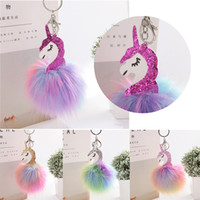Wholesale paper hanging balls - Fluffy Anime Unicorn Horse Keychain Pendant Cute Pompom Trinkets Artificial Rabbit Fur Ball Key Chain Bag Car Key Ring Hang Bag Toy