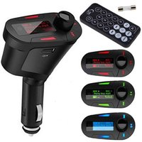 adaptador usb 12v auto al por mayor-Kit de coche Adaptador de cargador USB Reproductor de MP3 estéreo MP3 Transmisor de FM inalámbrico automático con control remoto SD MMC