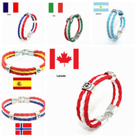 Wholesale sports supplies wholesale - World Cup National Flag Leather Braided Bracelet Sports Wrist Fans Supplies Cmmemorative Gift For Party Decora GGA254 120pcs