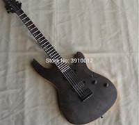 guitarra elétrica diy sólido venda por atacado-Personalizado MAYONES 6 cordas guitarra com Pescoço Através Do Corpo top guitarras elétricas hardware Preto