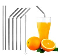 Wholesale mug packaging - New 304 Stainless Steel Straight Bend Drinking Straw With Cleaning Brush Kits for 30 20 Ounce Mugs Cups with Retail Package