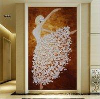pintando tecido de menina venda por atacado-Foto papéis de parede de tecido não-tecido Corredor Murais Bailarina menina Pintura A óleo Home Decor Sala Quarto Decoração Da Porta