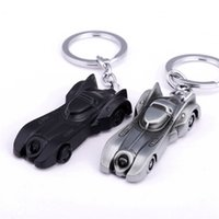 Wholesale dark knight car - 2 colors The dark knight Batman Car Model Batmobile Keychain Alloy key ring for men's Gifts Superman BatMan Trinket