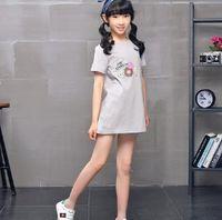 Wholesale High End Girls Dresses - 2018 summer new high-end fashion girl in the long section T dress T-shirt beautiful girl dress children's dress skirt
