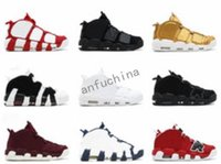 Wholesale Rhinestone Fur Boots - 2018 Newest release air more uptempo SUPTEMPO mid gold black for Men's Basketball boots CHI Scottie Pippen Shoes High Quality sneakers