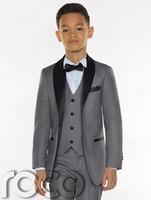 erkek takım elbise smokinleri toptan satış-2018 Yeni Tasarım Gri Erkek Smokin Ucuz Üç Adet Erkek Yemeği Takım Elbise Erkek Resmi Takım Elbise Smokin Çocuklar için Smokin (Ceket + pantolon + yelek + kravat)