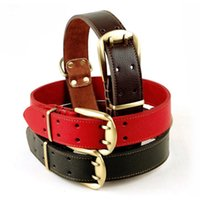 Wholesale Dog Leather Collars Xl - Black Red Big Dog Collar Genuine Leather Material Glossy Elegant Necklace For Large Dogs Collars XL Labrador Golden Retriever