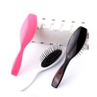 peluca profesional al por mayor-Profesional antiestático acero peine cepillo para peluca extensiones de cabello cabeza de entrenamiento airdressing salón herramientas mango plástico