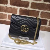 Wholesale skull shaped glitter online - Top Quality Luxury Brand design Letter embossing Heart Cluth V shaped Shoulder Chain Bag Women Genuine Leather Crossbody Bag